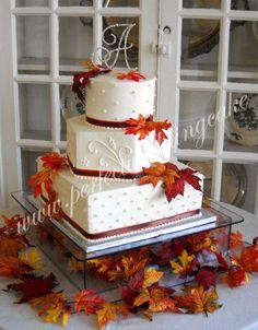 different fall wedding cake. I like the cakes are different shapes each layer. love the colors.