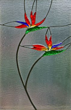 Stained glass bird of paradise | bird of paradise | Foiled and Faceted Stained Glass.... make this in an abstract form but use the same colours #StainedGlassAbstract