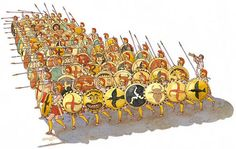 Greek hoplites in a phalanx. Note the lack of reach, as compared to the Macedonian phalanx.