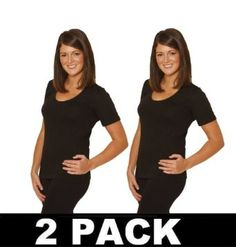 OCTAVE Thermal Underwear : 2 PACK Ladies Thermal Underwear Short Sleeved T-Shirt / Vest (OS, Black) Octave Textiles. $23.90