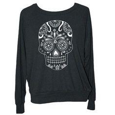 92ae6783c Womens SUGAR SKULL sweatshirt - american apparel long sleeve shirt S M L -  Color Options) z skip n whistle - My Sugar Skulls