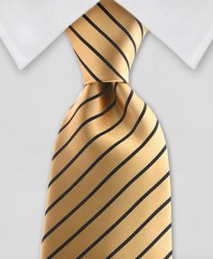 """Product number: ST-7077 Length: REG - 59"""" Length: XXL - 64"""" Width: 3.5"""" Material: 100% Microfiber Care: Dry Clean / Spot Clean Label: GENTLEMAN JOE A simple yet elegant, gold and black striped necktie"""