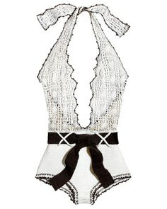 Vicose-and-Lycra halter swimsuit, Ashley Paige, $625