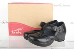 Womens Dansko Casual Black Leather Crafted Mary Jane Shoes Sz. 39 M New