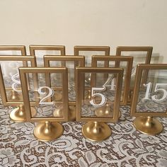 Gold Wedding Table Numbers, Wedding Table Markers, Number Cards For Wedding, Gold Wedding Decor Framed Table Numbers, Rustic Table Numbers, Wedding Table Number Holders, Wedding Table Numbers, Wedding Table Markers, Table Wedding, Ikea Wedding, Rustic Wedding, Gold Wedding