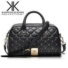 New 2014 summer fashion Kardashian Kollection KK famous brand small rivet plaid pu leather women handbag shoulder messenger bags $28.00 Free Shipping