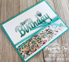 Stampin' Up! Birthday Wishes For You with Party Hat Birthday, Picture Perfect Birthday paper, and Sale-A-Bration Shimmer Ribbon and Stampin' Blends - Sarah Fleming - Prepare to Dye Papercrafts Balloon Birthday Cakes, Happy Birthday Cupcakes, Diy Birthday, Birthday Wishes, Birthday Cards, Happy Wishes, Wishes For You, Shaker Cards, Kids Cards