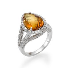 14K White Gold Right Hand Ring with .85ctw Pear Shaped Citrine Stone