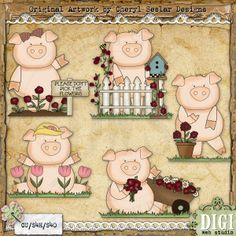 Garden Pigs 1 - Cheryl Seslar Country Clip Art : Digi Web Studio, Clip Art, Printable Crafts & Digital Scrapbooking!