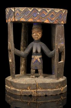 Africa | Prestige stool from the Yoruba people of Nigeria | Wood, pigments