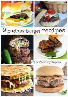 9 badass burger recipes with a twist via @semihealthnut at semihealthyblog.com
