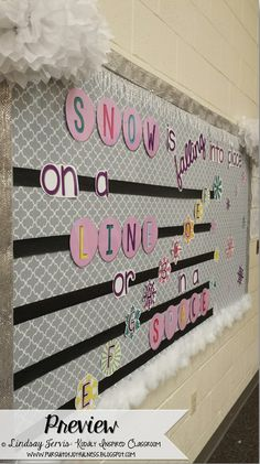 """Pursuit of Joyfulness: Winter Bulletin Boards for the Music Room """"Snow is falling into place, on a line or in a space"""" - Lines and spaces of treble clef #musiceducation #elmused #musedchat"""