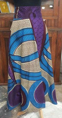 African Wax Print ALine Maxi Skirt.....