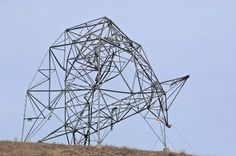 damaged electricity towers
