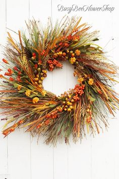 FALL Grass and Wheat Wreath for Front Door, Sunburst Fall Wreath with Dried Grass and Berries, Fall Decor for Front Porch, Fall Home Decor Feather Wreath, Wreath Fall, Autumn Wreaths, Grapevine Wreath, Fall Home Decor, Autumn Home, Wreaths For Front Door, Front Porch, Fall Living Room
