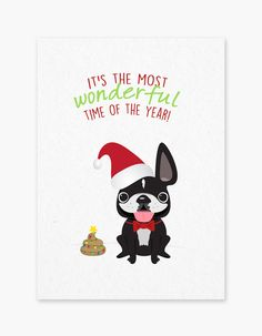 Most Wonderful Time of the Year French Bulldog Holiday Card