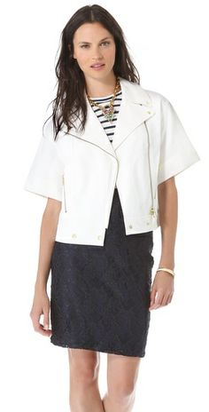 219.00 Club Monaco Kassandra Jacket FREE SHIPPING at shopbop.com. The moto jacket gets a casual update in textured cotton with short sleeves. Notched collar and off-center zip. Hip pockets. Unlined. Fabric: Textured weave. 100% cotton