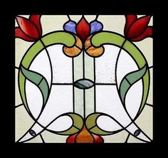 STAINED-GLASS-WINDOW-ENGLISH-ANTIQUE-ART-NOUVEAU-FLORAL-RARE-STUNNING