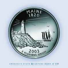 Maine State Quarter, Pemaquid Point Lighthouse, Victory Chimes Windjammer