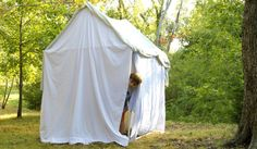 Make A Tent- Think we have a 'builder Dad' or mom who could help us make this? So fun for our 'backyard'...