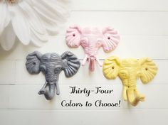 Much easier!! haha Ade Elephant Nursery / 3 Elephant Hook / Faux by WillowsGrace on Etsy