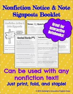 Nonfiction Notice & Note Signposts Booklet!