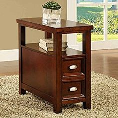 Amazon.com: New Crownmark Dempsey Chairside End Table Cherry Finish Wood Furniture: Kitchen & Dining