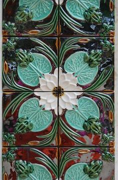 Portuguese tiles by Bordalo Pinheiro / art nouveau Azulejos Art Nouveau, Art Nouveau Tiles, Arte Art Deco, Ceramic Tile Art, Ceramics Tile, Cement Tiles, Mosaic Tiles, Wall Tiles, Porcelain Tile