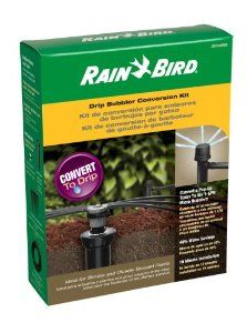 Rain Bird CNV182BUB Sprinkler Conversion Kit From 1800 Series Pop-Up to 6 Drip Micro bubblers by Rain Bird. $23.19. Reduces water use up to 40 percent compared to spray irrigation; requires capping other heads in zone. Includes conversion head with pressure regulator and filter, plus 6-port manifold. Waters flower beds, shrubs, and other garden plants with pinpoint accuracy. Conversion heads replace most standard pop-up sprinkler heads with 1/2-inch bottom inlet. Sp...
