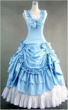 Blue Southern Belle Victorian Ball Gown Princess Lolita Dress Stage Costume