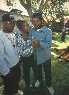 Sir Jinx, Yo Yo and Ice Cube, on the Boyz in the Hood set, circa 1990!