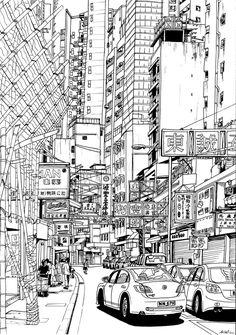 Hong Kong street by fatlittlenick.deviantart.com on @DeviantArt