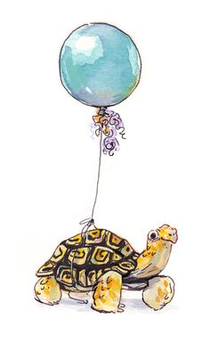 Birthday Tortoise Art Print   By Siminiblocker