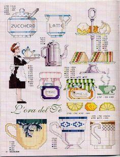 0 point de croix serveuse et cuisine - cross stitch  waitress and kitchen