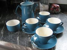 Colour Glaze Blue, Cook and Serve Coffee Pot plus sugar and 4 duos - I didn't realise there are colour glaze coffee pots! Color Glaze, Tea Set, Pots, Porcelain, Pottery, Sugar, Crown, Ceramics, Colour