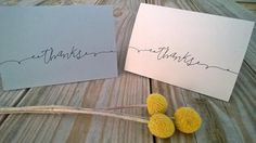 Hand Drawn  Calligraphy Thank You Cards Rustic by ChampaignPaper