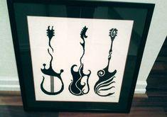 Guitar Silhouette Pattern Guitar Cross by NewYorkNeedleworks