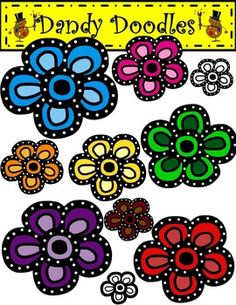 A cheery way to add a burst of color, these will look great on covers and are perfect to embellish products any time of the year! | by Dandy Dodles