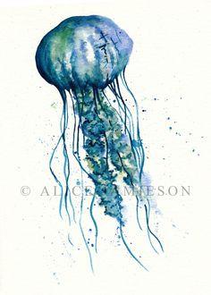 "JELLYFISH 5"" x 7"" PRINT From Original Sea Animal Inspired Watercolour Painting"