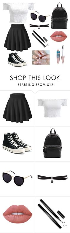 """Untitled #42"" by evalia1291 on Polyvore featuring Converse, French Connection, Fallon, Lime Crime and Maybelline"