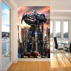 Transformers Wallpaper Optimus Prime Photo wallpaper Custom 3D Wall Murals Boys Kids Bedroom Nursery Room decor Interior Design Superhero