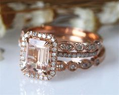 3 Pieces! 6x8mm Emerald Cut VS Real Morganite Ring Set Solid 14K Rose Gold Morganite Engagement Ring Set, Half Eternity Wedding Ring 015MO by CAJewelryStudio on Etsy https://www.etsy.com/listing/493249750/3-pieces-6x8mm-emerald-cut-vs-real