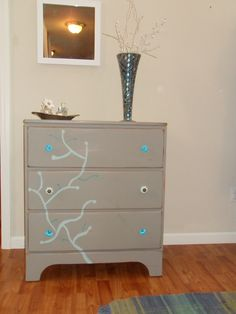 Annie Sloan French linen, with some duck egg accents, painted dresser