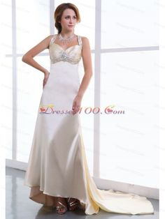 Beading and Ruching Decorate Bodice Champagne Watteau Train Straps Elastic Woven Satin 2013 Prom Dress