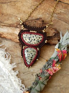 Macrame Necklaces Macrame Tribal Necklace Brown by stoneagetale