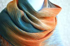 Hand woven long scarf gradient color teal beige gray orange long with fringe