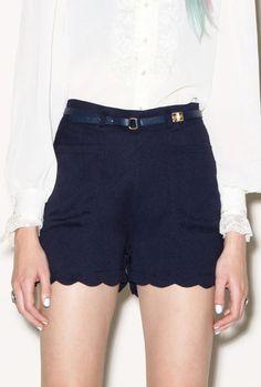 Scalloped Shorts Navy