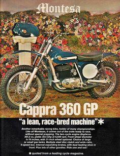 "Montessa 360 Cappra ""a lean, race-bread machine"" Mx Bikes, Motocross Bikes, Vintage Motocross, Vintage Racing, Dirt Bikes, Bike Poster, Motorcycle Posters, Motorcycle Bike, Street Tracker"