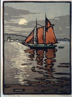 William S Rice, SF Bay Area. 1920s.. woodblock.