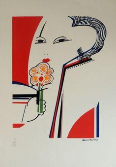ALDEMIR MARTINS - Figura feminina com flor - Gravura PA..
